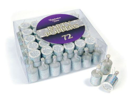 Paert Poppers. Silver Holographic Partyware for New Years Party Favor